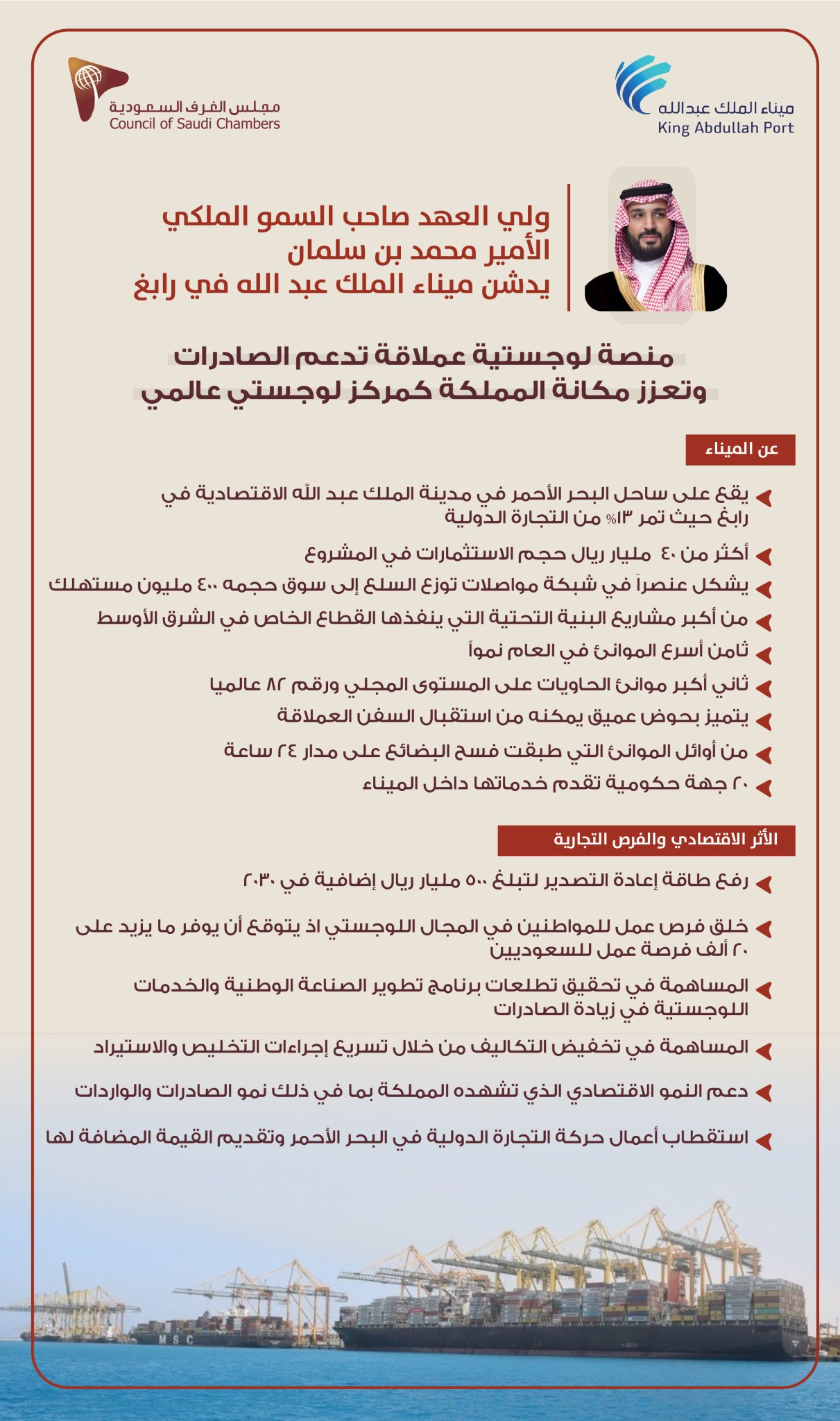 ولي العهد صاحب السمو الملكي الأمير محمد بن سلمان بن عبدالعزيز يدشن ميناء الملك عبدالله
